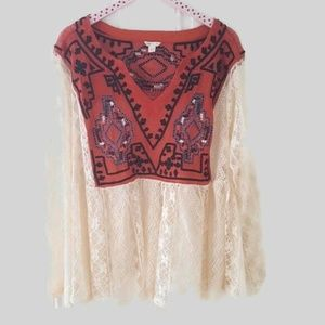 Cato Boho Lace embroidered Top Size 22/24W